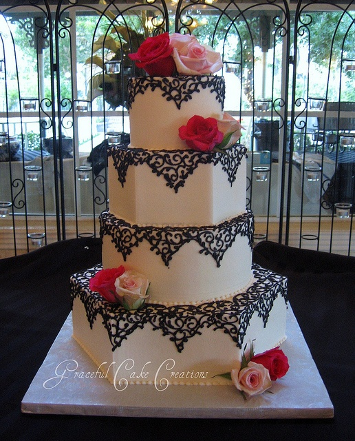 Ivory Hexagon Wedding Cake with Black Lace Design - a photo on Flickriver