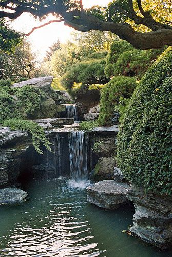 Garden Waterfall, Peace Places, Water Features, Gardens Waterfall, Japanese Gardens, New York, Nature Pools, Kyoto Japan, Botanical Gardens