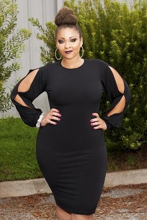 black bodycon curvy dress with sleeve cut out slits. sexy for nye
