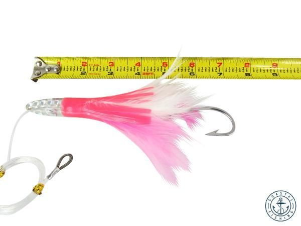"6"" RIGGED TUNA FEATHER TROLLING FISHING LURES - PINK $ 7.95. https://www.coastalfishing.com/collections/feather/products/6-rigged-tuna-feather-trolling-fishing-lures-pink?utm_content=bufferf9820&utm_medium=social&utm_source=pinterest.com&utm_campaign=buffer #fishing #equipment #trolling #tuna"