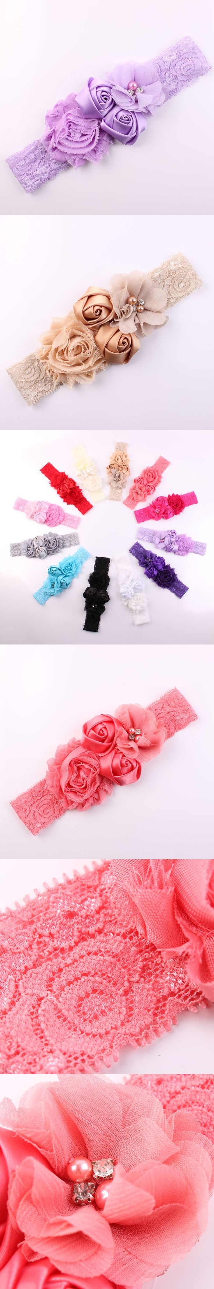1Pc Shabby Lace Baby Headband Chic Flower Girls Headband Hair Bow Flower Headband for Baby Girl Children Kids Hair Accessories $3.06