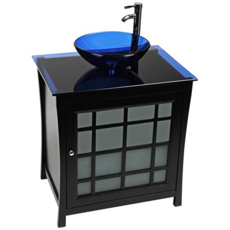 17 best images about glass bathroom vanities on pinterest solid oak single sink vanity and smooth for Bathroom vanity with frosted glass doors