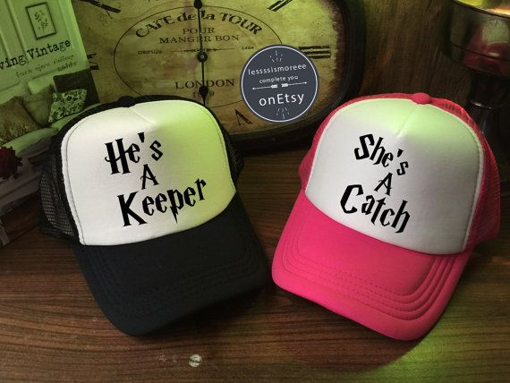 Harry Potter She's A Catch & He's A Keeper Hats by Lessssismoreee