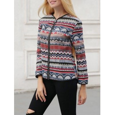 Ornate Print Zipper Design Jacket $12.92