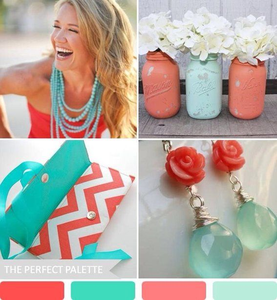 34 best Wedding color scheme  Coral Turquoise and