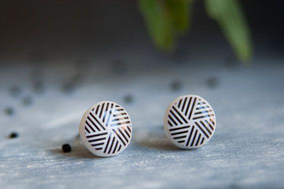 Geometric Earrings Stud Earings Tribal Earrings Mens by candyfoxx