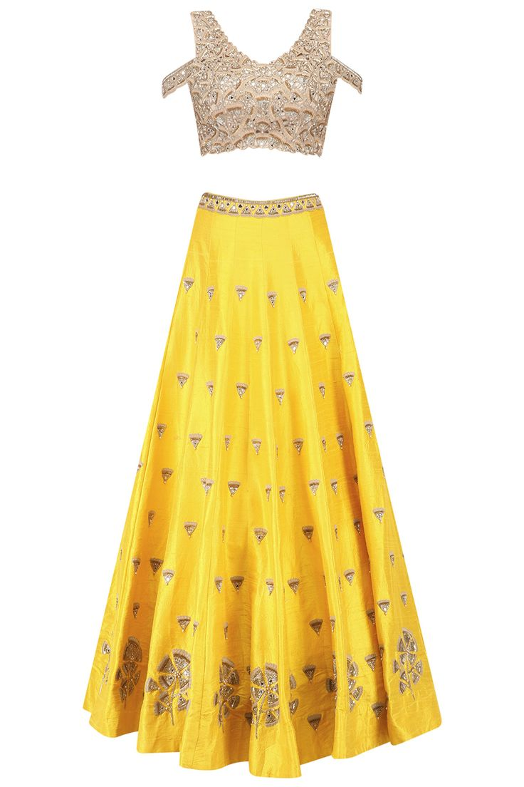 Yellow gingko embroidered lehenga skirt and cold shoulder blouse set available only at Pernia's Pop Up Shop.