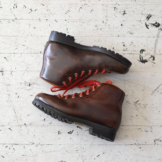 Tauern Boots 1970s Leather Hiking Boots 70s Red Laced