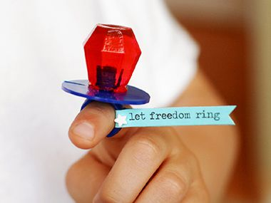 Let Freedom Ring Pop  A revolutionary idea: a simple card stock flag turns every preschooler's favorite accessory into a celebration of liberty.