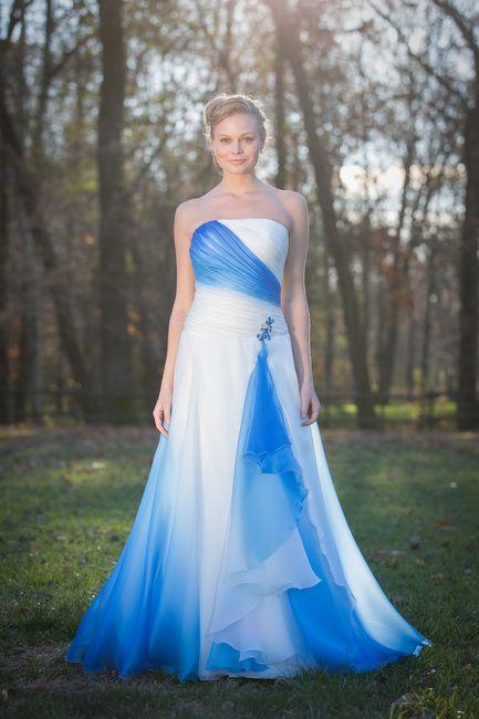 Vestiti da sposa Dream 011 - ABITO IN ORGANZA DEGRADE  BLU NAVY CON CORPINO  DRAPPEGGIATO 85f5c72ce49
