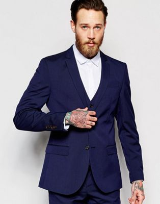 River Island Slim Fit Suit Jacket In Navy Blue