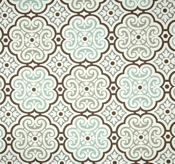 Best Aqua Grey U Brown Mosaic Home Decor Fabric By The Yard Designer  Drapery Or Upholstery