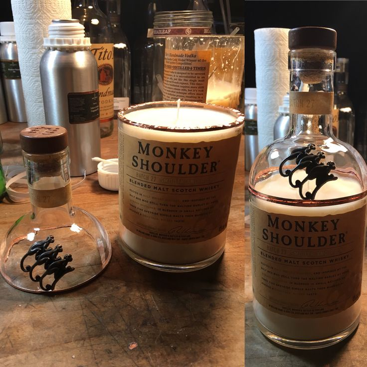 Monkey Shoulder Bottle Candle with Top, Masculine Scents ...