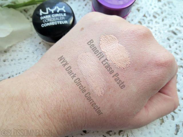 Blossom in Blush - Benefit Erase Paste vs. NYX Dark Circle Concealer (swatch) #dupe #ChampagneOrBeer #SplurgeOrSave