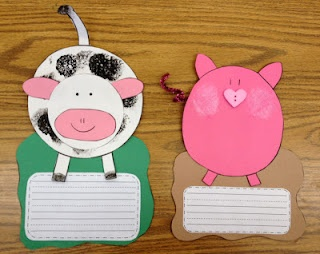 Pig and Cow Craft: Farm unit animal study: a spot to write a sentence with the craft!
