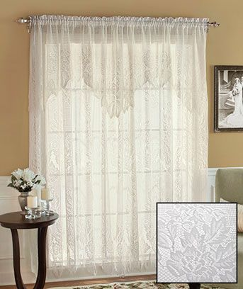 Lace Curtain Panels With Attached Valance American Balmore Lace