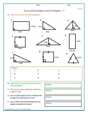 Worksheet | Area of Rectangles and Triangles - I | Practice calculating the area of a square, triangle , or rectangle using formulas in this worksheet. Given the area of a square, find the side length.