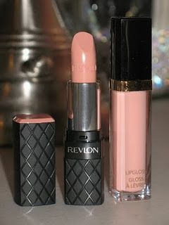 nude lip- revlon colorburst lipstick in soft nude and super lustrous gloss in peach petal