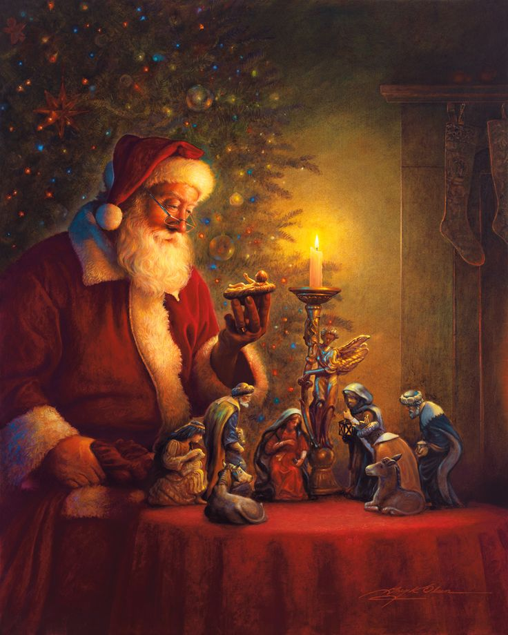 'Oh, come let us adore him!' ~*~ Santa pauses from his deliveries to gaze at a nativity scene and reflect upon the reason for the season. (Christmas, Jesus Christ, birth)