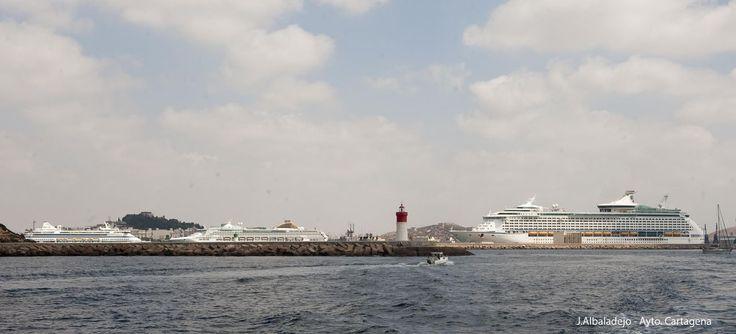 21/08/2014 #Cartagena (Spain) recibe >6000 visitantes a bordo de tres cruceros en el  mismo día