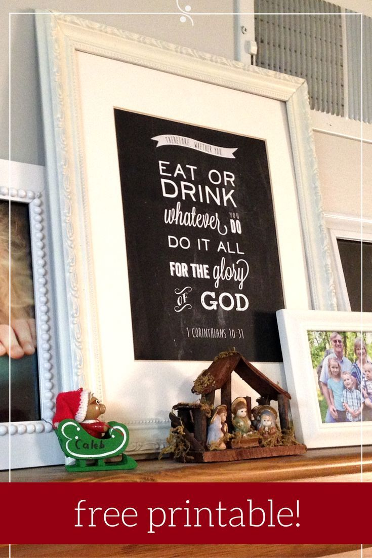 Chalkboard word art Bible Verse printable for your kitchen. Christmas gift idea and you can do it yourself—just download, print and frame it, then give meaningful sayings and inspiration decor!