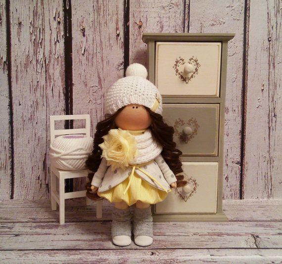 Home doll Tilda doll Art doll handmade brunette yellow colors Rag doll Soft doll Cloth doll Fabric doll Decor doll by Master Irina Bukina