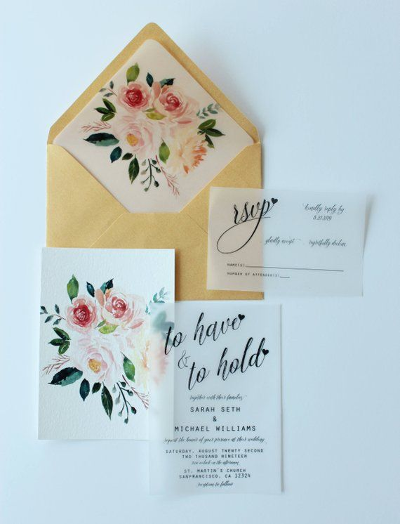 Vellum Gold Translucent Overlay FLORAL WEDDING INVITATION Suite