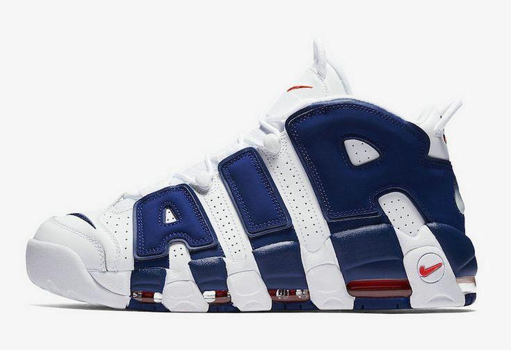 2017 2018 Daily Nike Air More Uptempo Knicks White Deep Royal Blue Team Orange Basketball Shoe For Sale