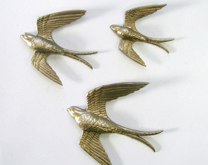 Golden Swallows, Bird Wall Art, Vintage Burwood Bird Hangings, 3 Gold Bird Wall Hangings, Flying Bird Art, Flying Swallow Wall Decor