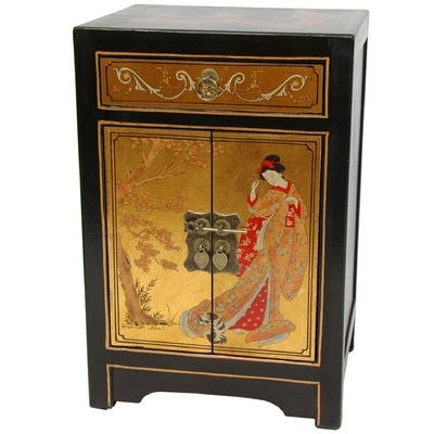 Oriental Furniture 2 Door End Table Cabinet in Gold Leaf Lacquer
