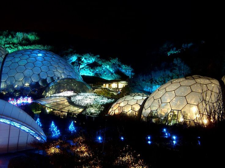 Cornwall. Bruce Munro's iconic 'Field of Light' sculpture is installed at the Eden Project