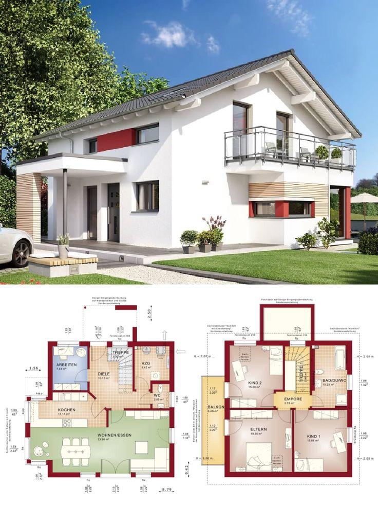 Superior Modernes Design Haus Mit Satteldach Architektur U0026 Erker Anbau    Einfamilienhaus Bauen Grundriss Fertighaus Celebration