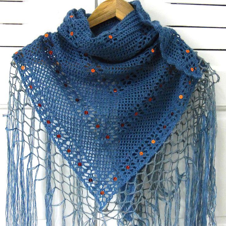 Châle en laine fait main au crochet : Echarpe, foulard, cravate par marissia