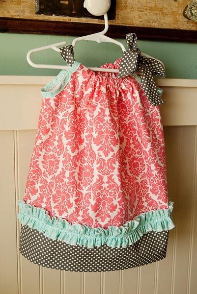 Love these colors and ruffle! Pillowcase dress.