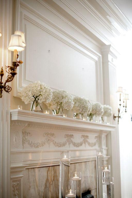 Simple and elegant white hydrangea wedding decor.