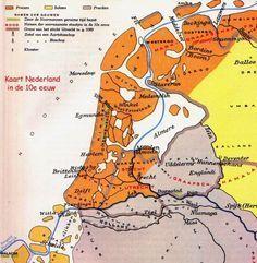 Kaart Nederland in de 10e eeuw