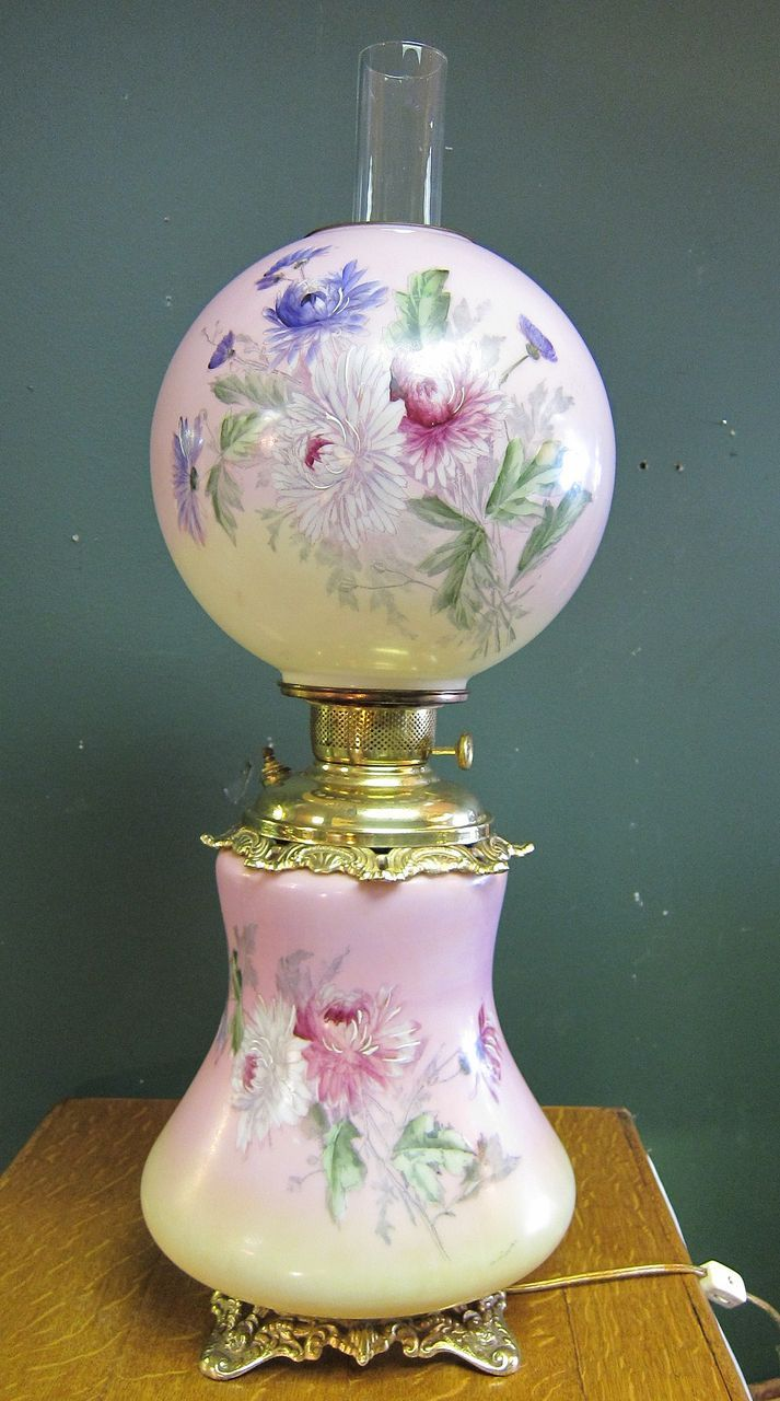 Large Handpainted & Artist Signed Gone With The Wind Oil Lamp Converted To  Electric