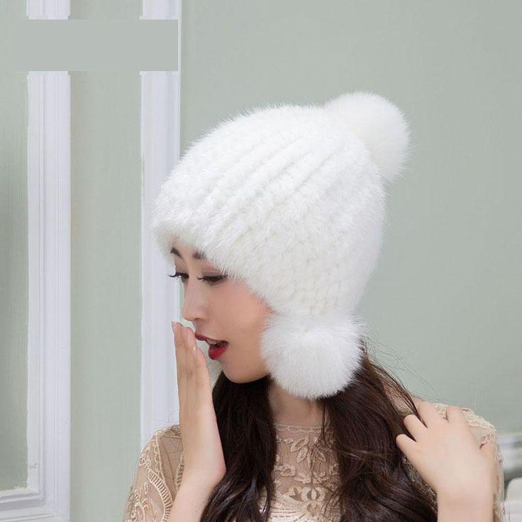 Woman thick stretch mink fur Skullies & Beanies caps female winter warm Ear protection fur hats lady fur Anti-wind fur cap  #Affiliate