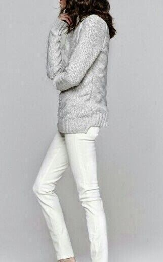 grey sweater with white jeans. love the neutral look
