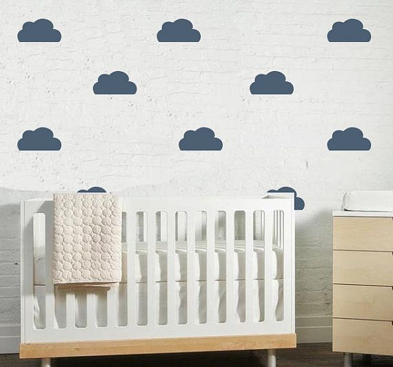Clouds are everywhere in the nursery but we love this color {from @The Lovely Wall Co.} #BRITAXStyleVinyls Decals, Babykid Room, Nurseries, Bedrooms Kids, Decals Sets, Clouds Wall Decals, Simple Clouds, Baby Kids Room, Baby Room Clouds Wall