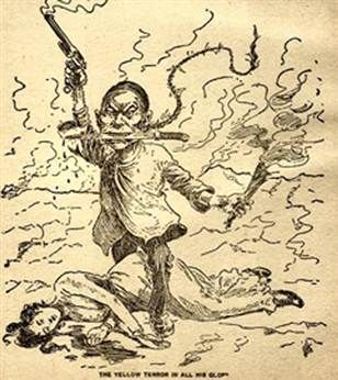 """The """"yellow terror"""" also called the """"yellow peril"""" coincided with the Chinese Exclusion Act of 1882. At the time, labor leader Samuel Gompers argued that, """"the superior whites had to exclude the inferior Asiatics, by law, or if necessary, by force of arms."""" In the early 1900s Asians were often lynched by vigilante groups, much like blacks in the South.:"""