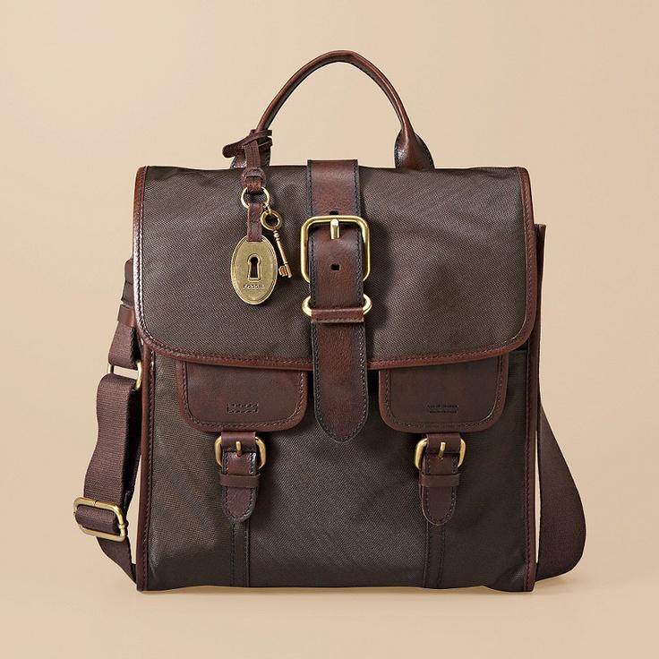 Popular Fossil Aiden Canvas Messenger Bag In Brown For Men | Lyst