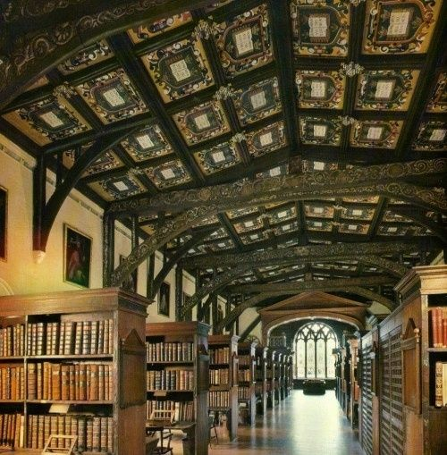 Hereford Cathedral Chained Library in Great Britain. (est. 1100) Books have been chained to heavy furniture and walls to prevent unauthorized check out since the Middle Ages. by leona