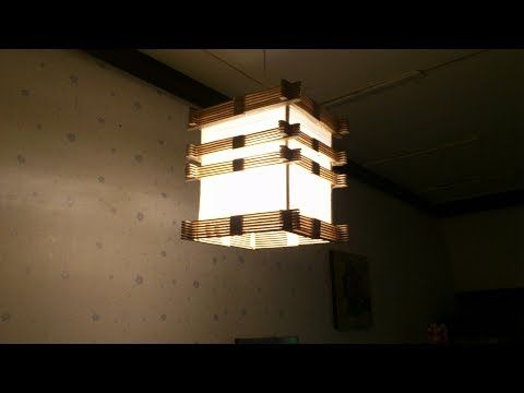 D I Y Lamp From Popsicle Stick Yarn Youtube Podelki