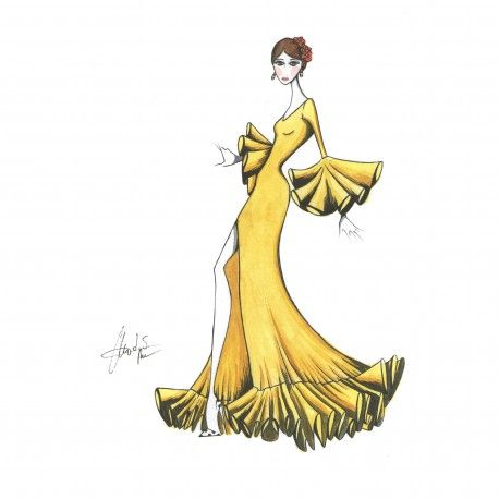 Traje de nejas con abertura. #moda #flamenca #patrones #volantes #lunares #sketch #dibujo #boceto #pintura #modelo