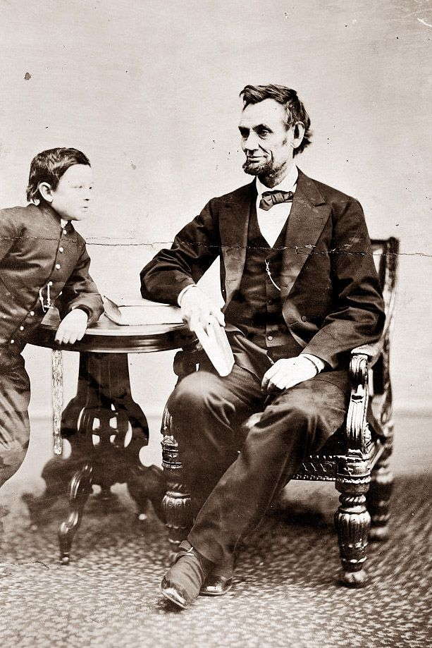 "Abraham Lincoln and son Tad. Thomas ""Tad"" Lincoln III was the fourth and youngest son of Abraham and Mary Lincoln. The nickname ""Tad"" was given to him by his father, who found him ""as wiggly as a tadpole"" when he was a baby. He died in 1871 at age 18."