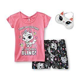 Joe Boxer Girl's Glitter Pajamas & Sleep Mask - Kitty Cat at Kmart.com