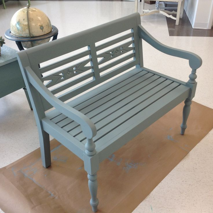Sophia first coated painted on the bench
