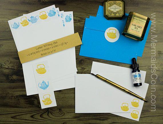 The Tea Drinker's Letter Writing Set - Yellow and Blue vintage teapots by Hannah Katarski @mermaidscoin