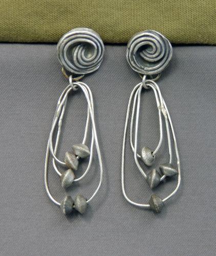 Fine and Sterling Silver Orbit Earrings by Mirinda Kossoff